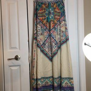 Aztec multicolor printed long maxi skirt